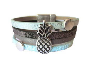Pineapple Mint (made in Europe) leather Cuff Bracelet Kit