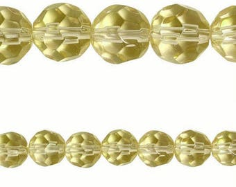10 x Round 8mm PALE GOLD faceted glass beads