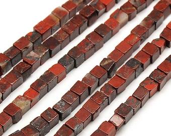 10 x 4mm BRECCIATED Jasper cube beads