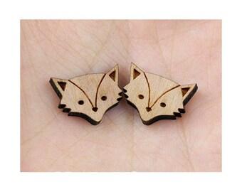 Mini pattern Fox 15 mm natural wood