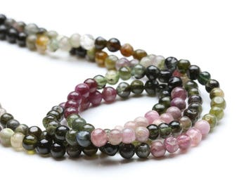 10 x beads natural 6mm multicolor Tourmaline round