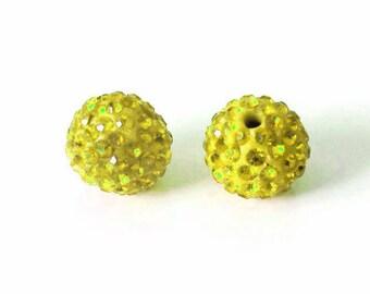 1 x bead ball 8mm yellow Crystal rhinestones