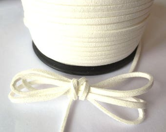 1 m x 3mm white cord suede