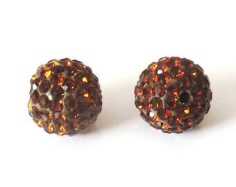 1 x bead ball 10mm Brown Crystal rhinestones