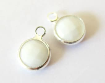 Round glass set, faceted silver, 8mm WHITE ALABASTER pendant/charm