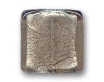 1 x Pearl 20 mm square SMOKY grey silver foil