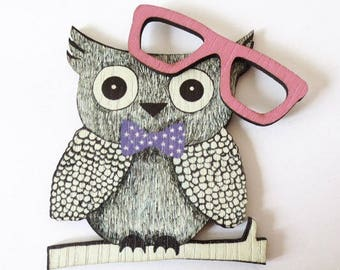 OWL + glasses wood printed 70x57mm - Non pierced ROSE