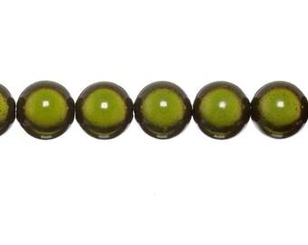 10 x 6mm - Green KHAKI magic round beads