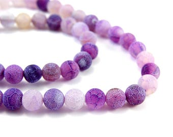 10 x 8mm purple Frosted cracked Agate beads