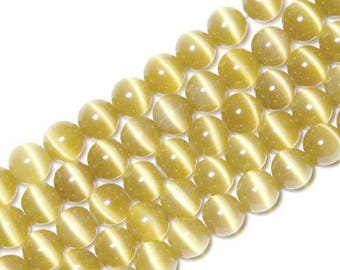 10 x beads 4mm PALE GOLD cat eye