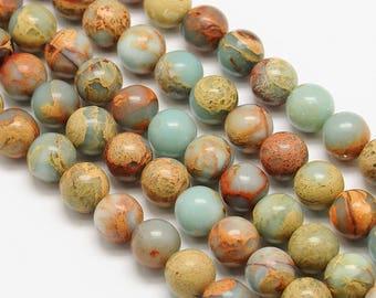 10 x 6mm AQUA TERRA Jasper round beads