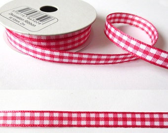 2 m x fancy 8mm cherry red gingham Ribbon