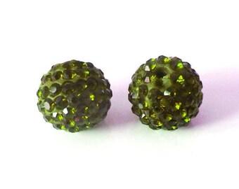 1 x bead ball 8mm Olive Green Crystal rhinestones