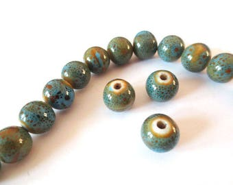 1 x Pearl handcrafted 10mm blue ANTIQUE porcelain