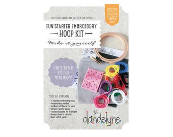 Starter Kit mini wood 7.6 cm FUN - Dandelyne embroidery hoop