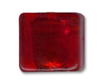 1 x Pearl 12 mm square red silver foil