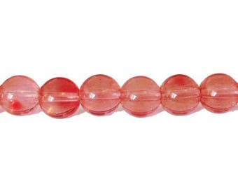 10 x 10mm coral glass round beads