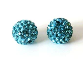 1 x bead ball 8mm Aqua Blue Crystal rhinestones