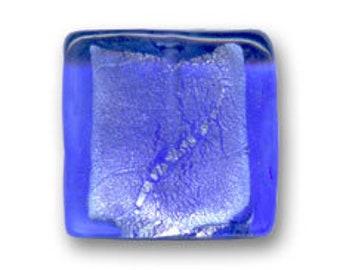 1 x Pearl 12 mm square blue silver foil