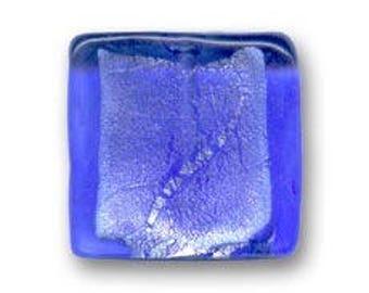 1 x Pearl 20 mm square blue silver foil