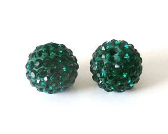1 x bead ball 10mm emerald green Crystal rhinestones