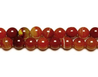 10 x natural Agate beads with 8mm ORANGE rust