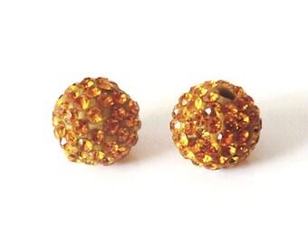 1 x bead ball 8mm topaz crystal rhinestones