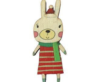 Vintage winter wood print - 56x33mm - Bunny