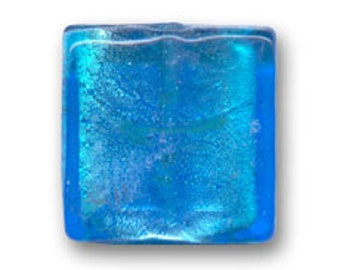 1 x Pearl 12 mm square TURQUOISE silver foil