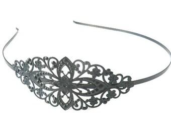 1 x headband holder metal filigree GUNMETAL