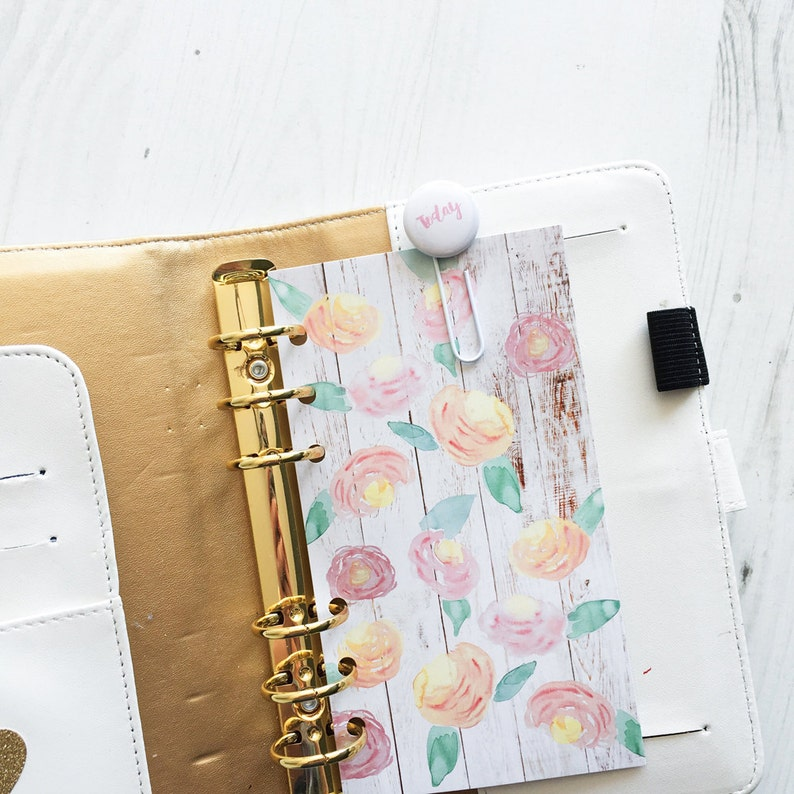 Watercolour Flowers A5 Planner Dashboard image 0