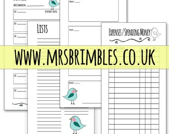 BIRDIE(Teal) Printable Inserts for your PERSONAL size filofax, Kikki K, organiser, day planner