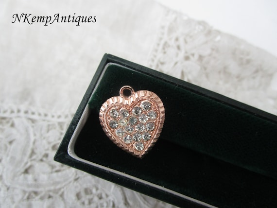 Diamante heart pendant 1930's