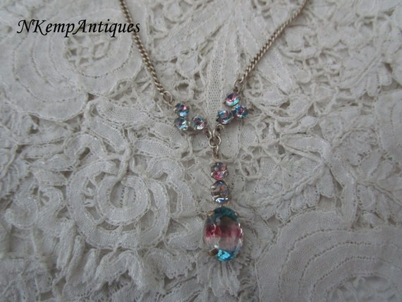 Rainbow glass necklace 1930's