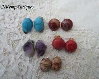 Vintage earrings semi precious stones