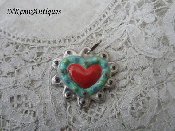 1930's heart pendant bavarian porcelain