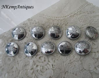 Old metal button x 10