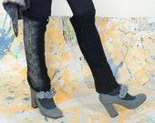 Wearable handwork nunofelted legwarmers linen merino wool hipster style CC texture