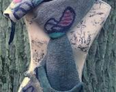 "CULICANTE Wearable art nunofelted scarf Linen Wool ""Inspired by Hundertwasser"""