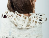 Capelet scarf-tube poncho coins genuine pure linen wool handmade by CULICANTE