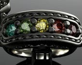 Rainbow diamond 1.25cttw and 14kt grey gold ring. Diamond ring in stitched leather style brogue jewelry. non-binary DeMer Jewelry bridal.