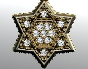 Diamond Star of David in heavy solid gold. 0.78cttw white cognac champagne diamonds. Judaica Brogue jewelry. DeMer Jewelry Original.