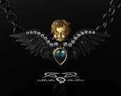 Memento Mori Cherub Angel Raven Wing Necklace Pendant. 14kt European Gold Diamond Ravens Wings on Sterling Silver Chain. Mourning Jewelry.