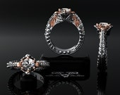 Platinum & 18kt rose red pink gold. Diamond baroque, two tone floral engagement ring.  Intricate engraved filigree heavy perfect. 1 carat.