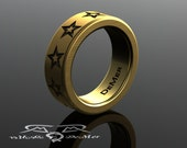 Star Wedding Band. Heavy solid 14kt European gold. Black gold rhodium, thick wide wedding ring. Customizable Rock Star Engraved Mens ring.
