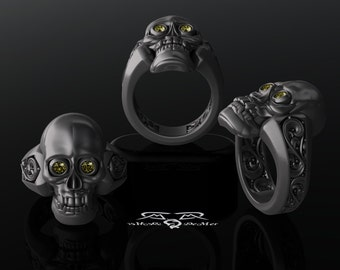 Gothic skull and reliquary memento mori mens ring in solid  bf6039d0e4d