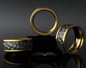 Hammered 14kt European Yellow Gold, Black Silver Wedding Band Mens Ring. Granulated Luxury Weight Comfort Fit. Contemporary Luxe Rustic!