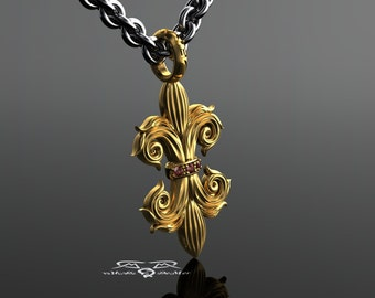 Double Fleur De Lis! Solid Heavy 14k gold, Marsala Red Diamonds. Heavy Sterling mens chain pendant necklace vampire saints New Orleans goth.