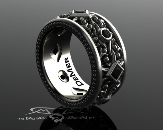 Black Diamond Mens Eternity Band. Wide Sterling Wedding Band. Steampunk Victorian Gothic Black Gold Ring With Milgrain And Engraving. Heavy. by Etsy
