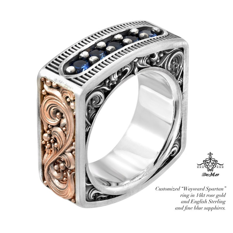 66a490fdeeb45 Square mens diamond or sapphire ring. Engraved two tone solid gold and  sterling silver. Pinstripe and scrollwork. Steampunk Western.
